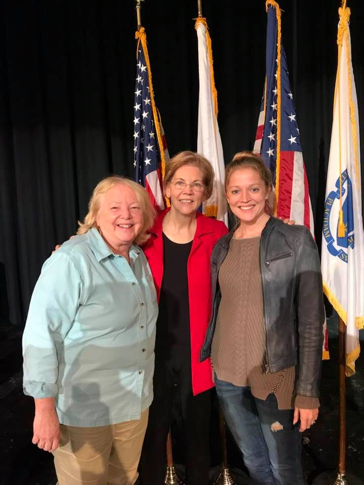 OBS president Laura Fillmore, Senator Elizabeth Warren, and OBS project manager Marina Evans